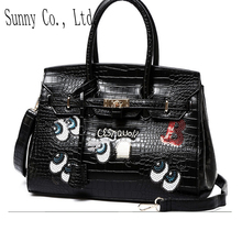 women large bags 35cm  funny big eyes bags leather handbags  Crocodile sweet girl  lock  sequins bolsa women messenger bags