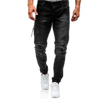 GustOmerD New Men Stretch Destroyed Ripped Design Jeans High Quality Autumn Winter Jeans Fashion Hiphop Zipper Skinny Men Jeans