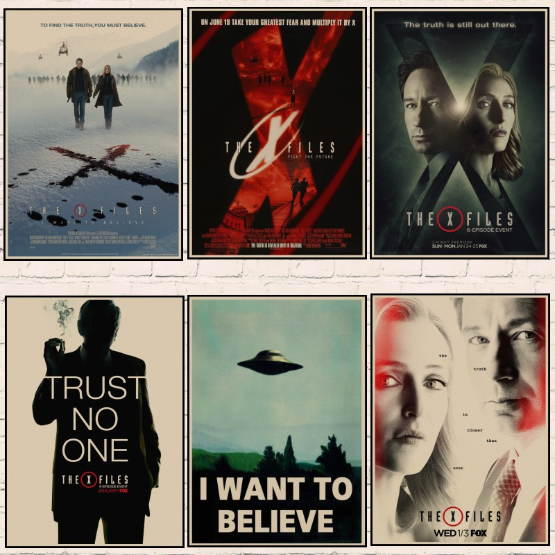 "Vintage Classic X FILES /""I Want To Believe/""Home Room Decor Kraft Paper Poster*1"