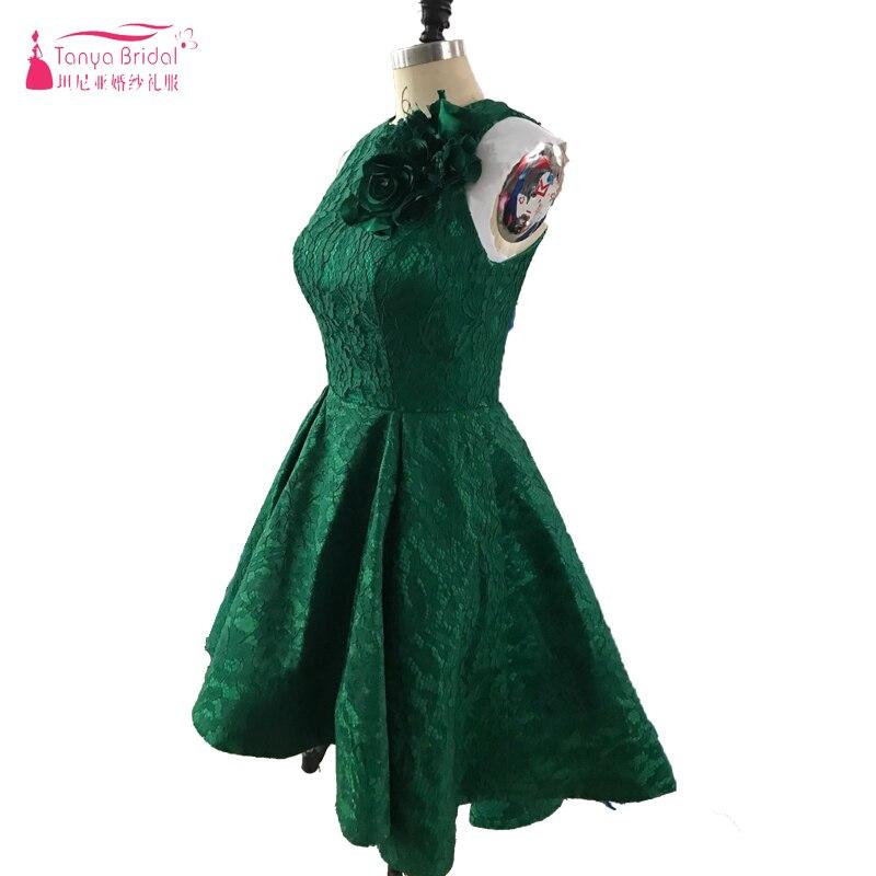 어두운 녹색 높은 낮은 댄스 파티 드레스 보석 목 민소매 2018 이브닝 가운 라인 저렴한 짧은 레이스 정장 드레스 Vestido 드 축제