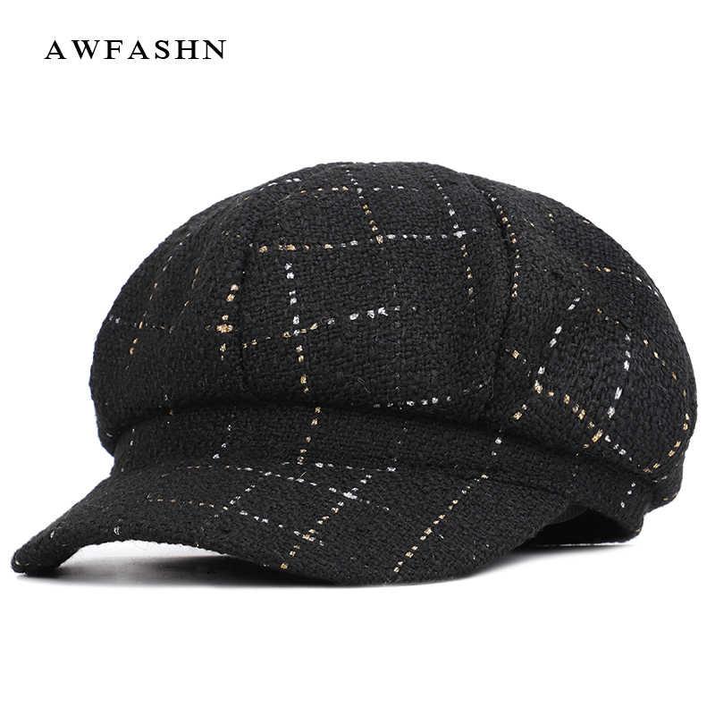 2019 Новая модная женская клетчатая полосатая газетная шапка, Женская Ретро восьмиугольная шапка, шерстяная клетчатая шапка для художника, черный белый берет, шапочка