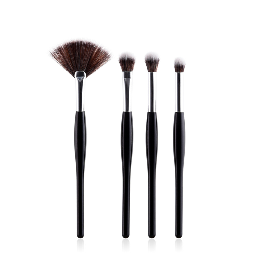 4Pcs Slim Waist Makeup Brush Pro Concealer Eyelashes Eyeshadow Brush Maquiagem New Wood Gold Sliver Aluminum Makeup-brushes