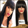 Full Lace Human Hair Wigs With Bangs Brazilian Full Lace Human Hair Wigs For Black Women Straight Lace Front Wigs With Baby Hair
