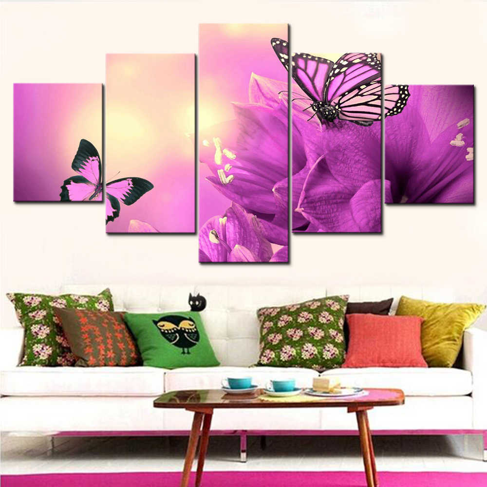 Canvas Paintings Wall Art 5 Pieces/Set Purple Flowers Butterflies HD Print Framework Poster For Living Room Modular Picture