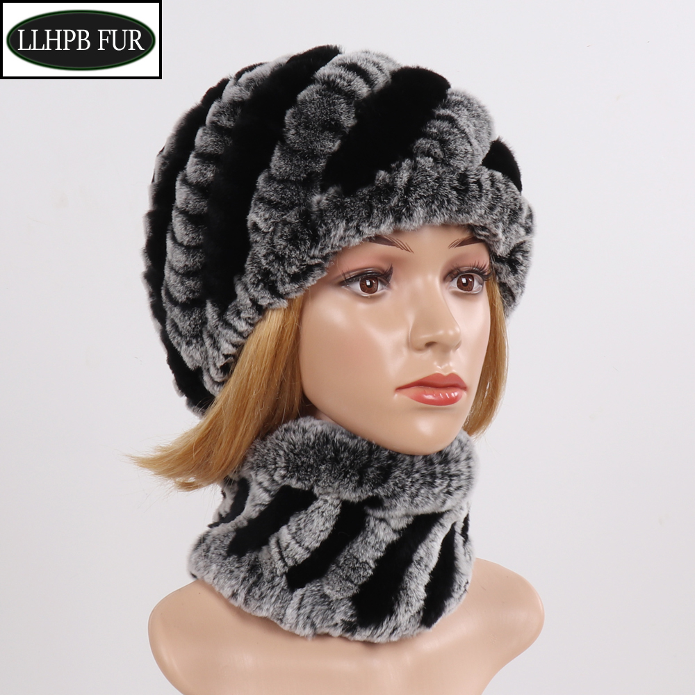 2019 Hot Winter Women Real Rex Rabbit Fur Hat Scarf Natural Knit Rex Rabbit Fur Hat Scarves Lady Warm Real Fur Muffler Hat Sets