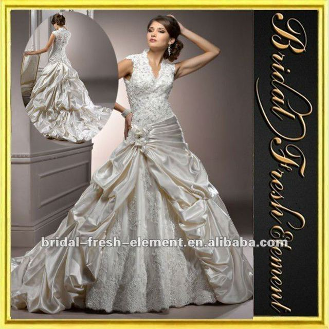 Taffeta Cap Sleeve Ruffled Lace Spanish Style Wedding Dresses In