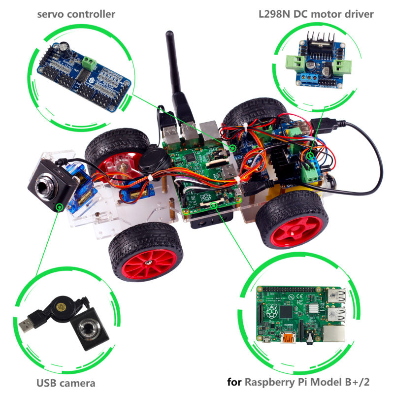 US $83 15 16% OFF|SunFounder Raspberry Pi Smart Video Robot Car For  Raspberry Pi 3 Model B+ B 2B with Android App (Rpi not included )-in  Integrated