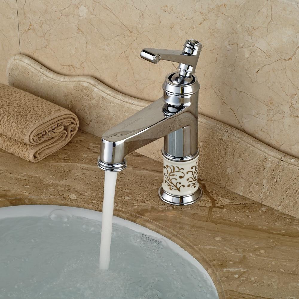 Wholesale And Retail Chrome Brass Bathroom Basin Faucet Single Handle Hole Vessel Sink Mixer Tap Ceramic Base wholesale and retail brass chromed automatic sensor faucet for the bathroom sink faucet basin faucet