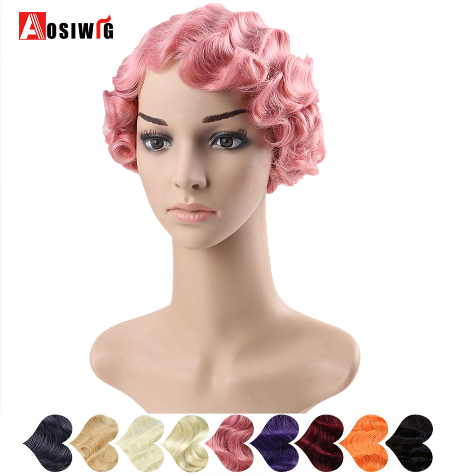 AOSI Synthetic <font><b>Short</b></font> Curly <font><b>Wigs</b></font> for African American Women Heat Resistant Black Blonde <font><b>Pink</b></font> Purple Finger Waves Cosplay <font><b>Wig</b></font> image