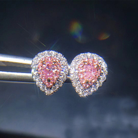 ANI 18K White Gold Women Wedding Stud Earrings Real Natural Pink Diamond Earrings Pear Shape Stud 2 Halo aretes de mujer Jewelry