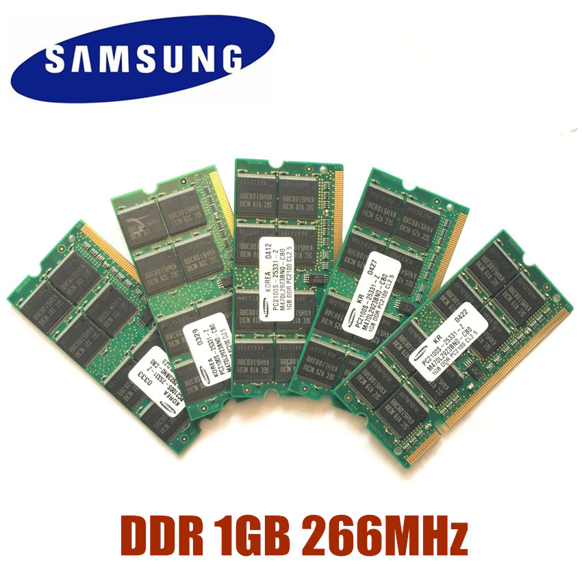 US $5 1 |For SAMSUNG SEC DDR DDR1 1GB 2GB 266MHz PC 2100S 1G notebook  memory Laptop RAM SODIMM 266 for intel for amd PC2100S-in RAMs from  Computer &