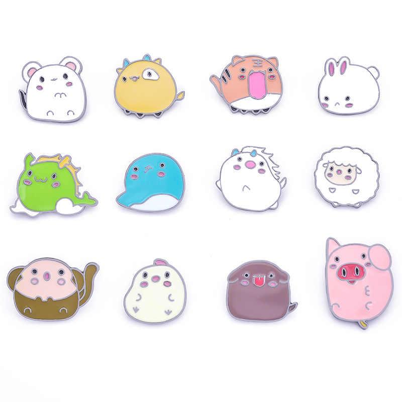 12 PIN Cute Hewan Bros untuk Wanita Pria Zodiak Cina Pin Kartun Mouse Kelinci Domba Enamel Pin Denim Jaket Kerah lencana
