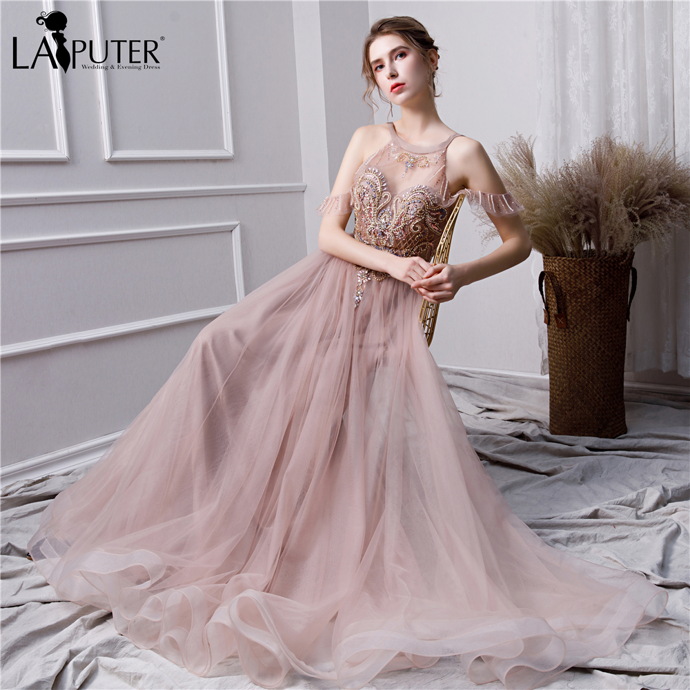 LAIPUTER 2020 New Arrival 100% Real Bean Powder Evening Dress  A-line Beading Pearls Robe De Soiree Longue Spring Prom Dress