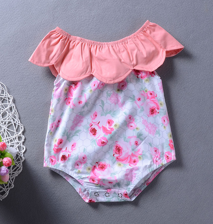 Newborn Baby ClothesFloral Print Rompe Pink Cape Collar Sleeveless Jumpsuit Bebe Girls Clothing