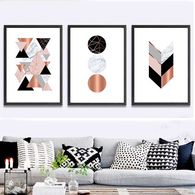 modern canvas painting geometric prints pink marble gray rose gold rh aliexpress com Living Room Wallpaper Large Paintings for Living Room