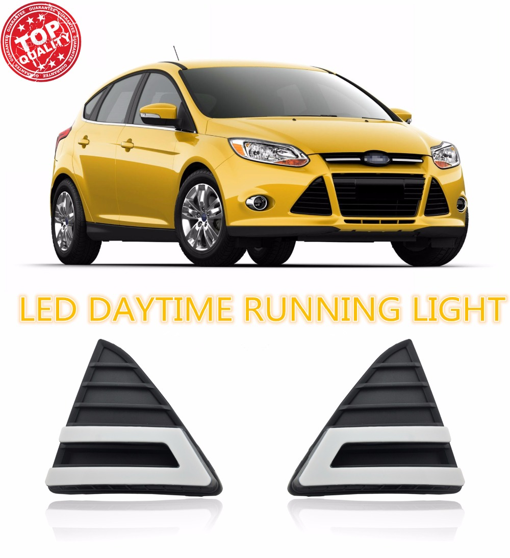 Turning light style relay AUTO LED DRL Daylight  Car Daytime Running Lights set  for Ford Focus 3 2012 2013 2014 2015  fog lamp turn off and dimming style relay led car drl daytime running lights for ford kuga 2012 2013 2014 2015 with fog lamp