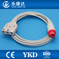 Korea Bionet 6pin ECG patient monitor trunk cable for 3 lead IEC/AHA leadwires with medical TPU