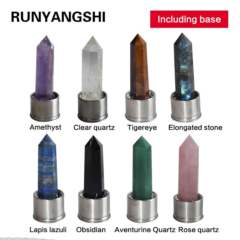 Coluna De Cristal Natural Pedra de Quartzo de Vários Materiais Magic wand ponto de cura pedra de energia xícara de água bottel Ornamento substituir