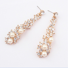 SBY0295 New Fashion luxury Wild temperament pearl long earrings women jewelry free shipping
