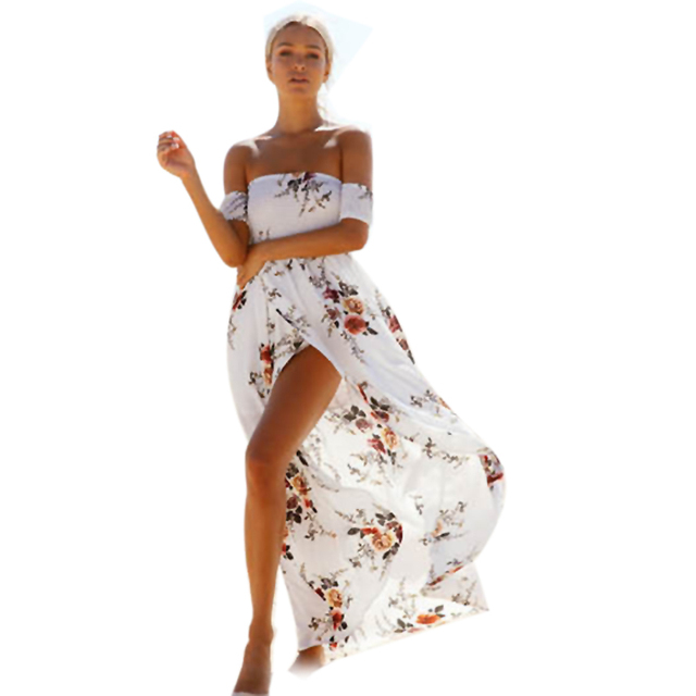 Strapless white beach dress