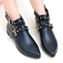 Rivets Belt Buckle Pointy Toe Low-heels Women Fashion Naked Boots Black Cowhide Elegant Comfort All-match Female Ankle Booties