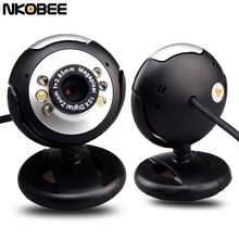 NKOBEE Webcam HD Web Camera With Microphone 6 LED Night Vision For Desktop PC Laptop Computer Web Cam Clip-On