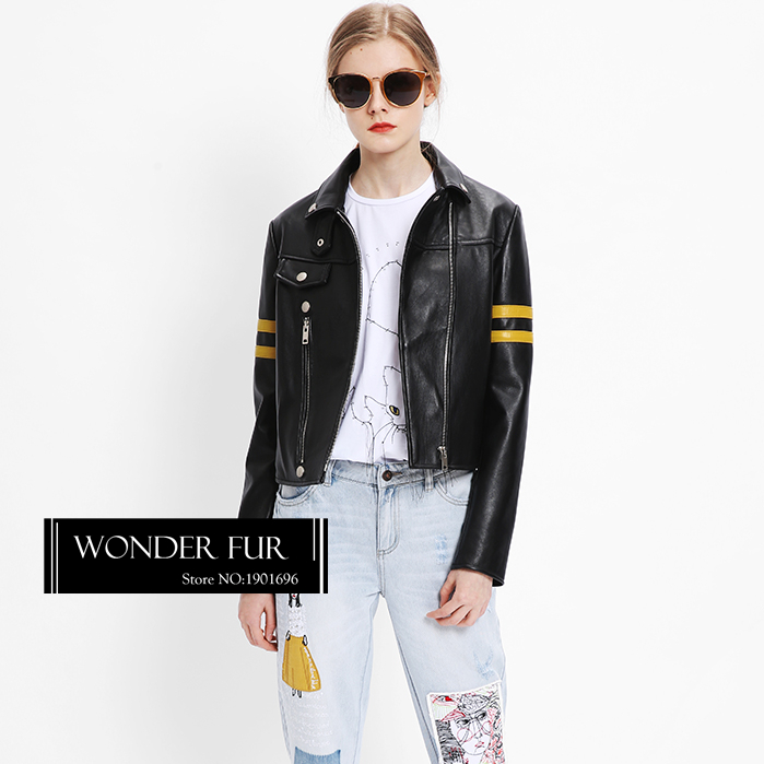 Fashionable Leather Jacket Import Sheep Leather Jacket For Women Spliced Strip Sleeve Sheepskin Coat Top Design Quality Leather