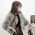 korean style Real fox fur coats for women fashion short slim waistcoats pink jacket fourrure natural jackets women's fur coat