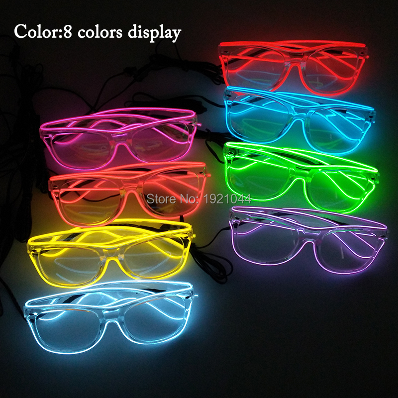Rave Costume Props LED Neon Light up 10pieces EL Wire Glasses Glowing Product for Night Club Supplies Party DIY Decor