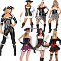 2017 New Sexy Women Pirate Costume high quality  Fancy Dress Carnival Perfor mance Halloween black Adult Party Cosplay Costumes