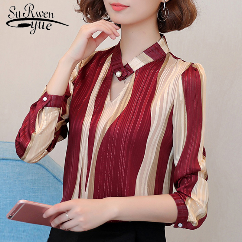 Fashion Womens Tops And Blouses 2019 Striped Chiffon Blouse Shirt Long Sleeve Women Shirts Plus Size Tops Women Blouse Z06 60