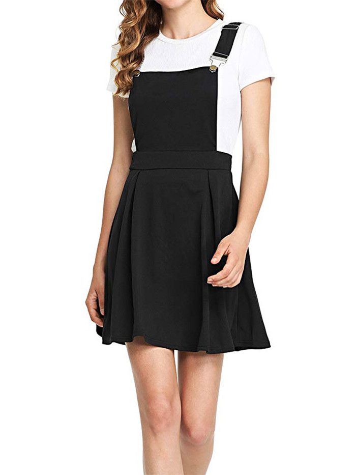 HTB18CznevWG3KVjSZFgq6zTspXau Summer Women Mini Party Dress 2019 Casual Sleeveless Zip Up Back Pinafore Dress Autumn Black Pleated Overall Dress Plus Size