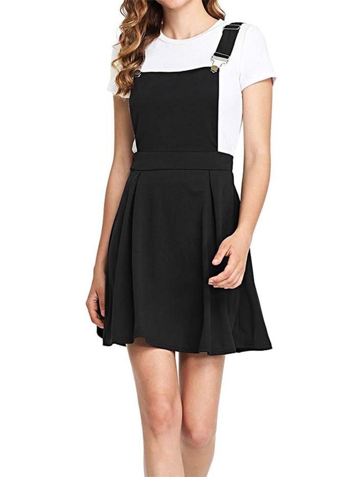 HTB18CznevWG3KVjSZFgq6zTspXau Summer Women Mini Party Dress 2019 Casual Sleeveless Zip Up Back Pinafore Dress Autumn Black Pleated Overall Dress Plus Size