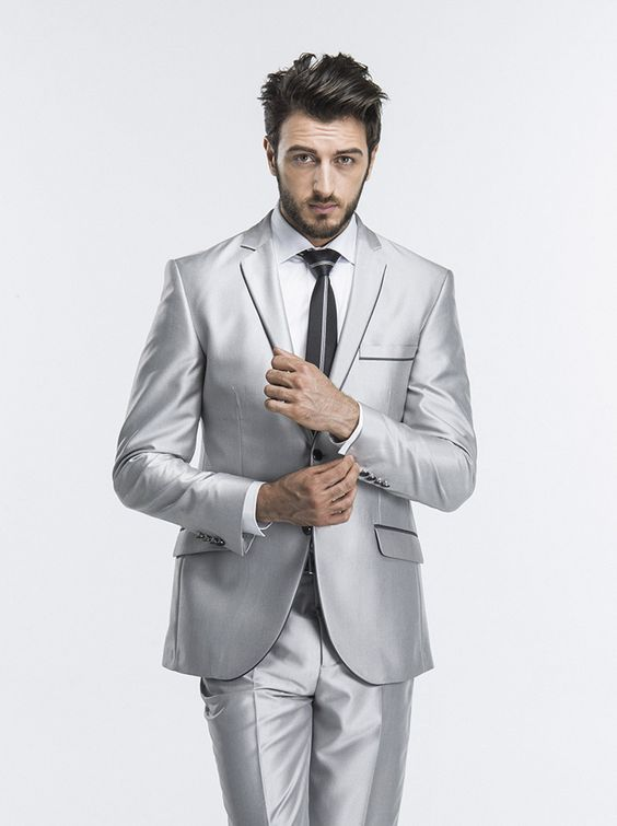 2018 Latest Coat Pant Designs Silver Wedding Suits For Men Slim Fit Blazer 2 Pieces (Jacket+Pants)Tailored Suit Terno Masculino
