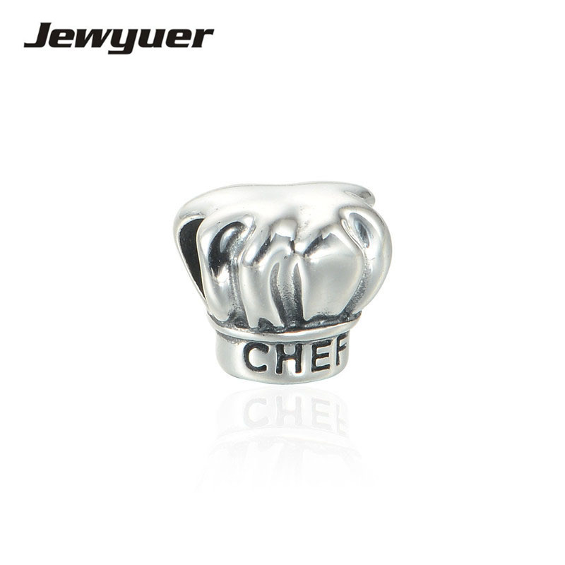 Summer collection Silver Chef Hat charms 925 Sterling Silver fine jewelry Fit bead Charm Bracelet DIY for women BE244