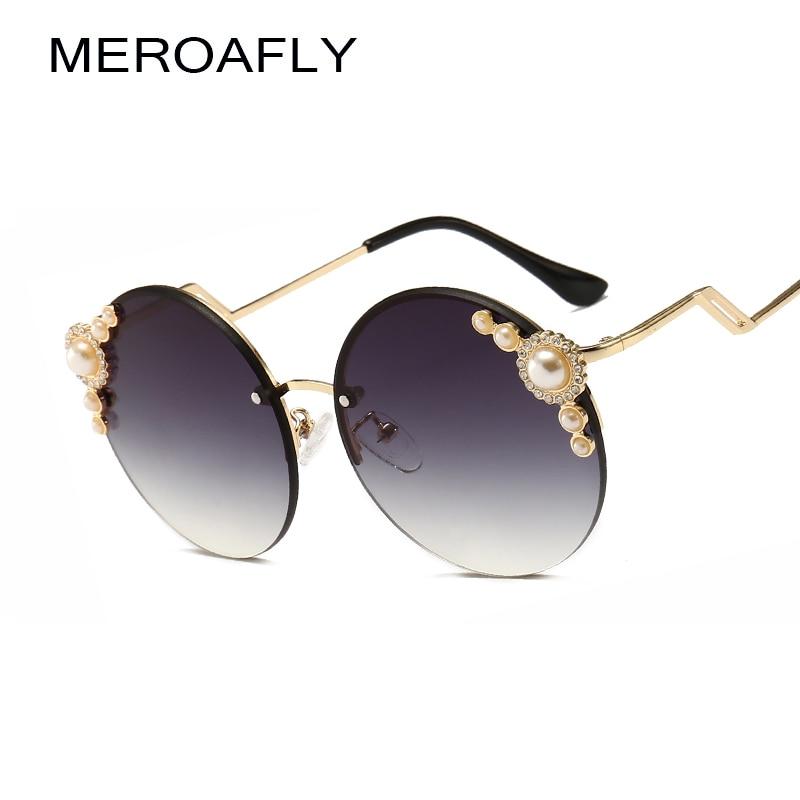 MEROAFLY 2019 Women Round Crystal Sunglasses Brand