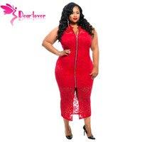 אוהבים יקרים למכור חם בתוספת גודל סקסי Sheer תחרה ללא שרוולים תחרה מול רוכסן שמלת אמצע שוק אדום/השחורה Vestido דה רנדה LC60913