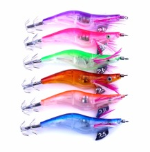 LED Electronic Shrimp Lure 6Pcs/lot Squid Jigs Fishing 10.5cm 12g Luminous Hook Octopus Tackle