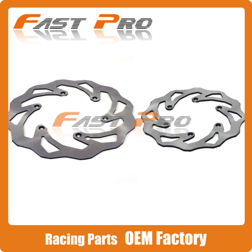 Front Rear Wavy Brake Disc Rotor Set for Husaberg Motocross Enduro All Models MX Racing Off Road Motorcycle Dirt Bike motorcycle front and rear brake pads for ktm egs lse exc 400 all models 1998 2006 black brake disc pad