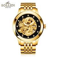 Swiss Watches Men Luxury Brand Sapphire Skeleton Automatic Self Wind Diamond Luminous Chinese Dragon Golden Relogio Masculino