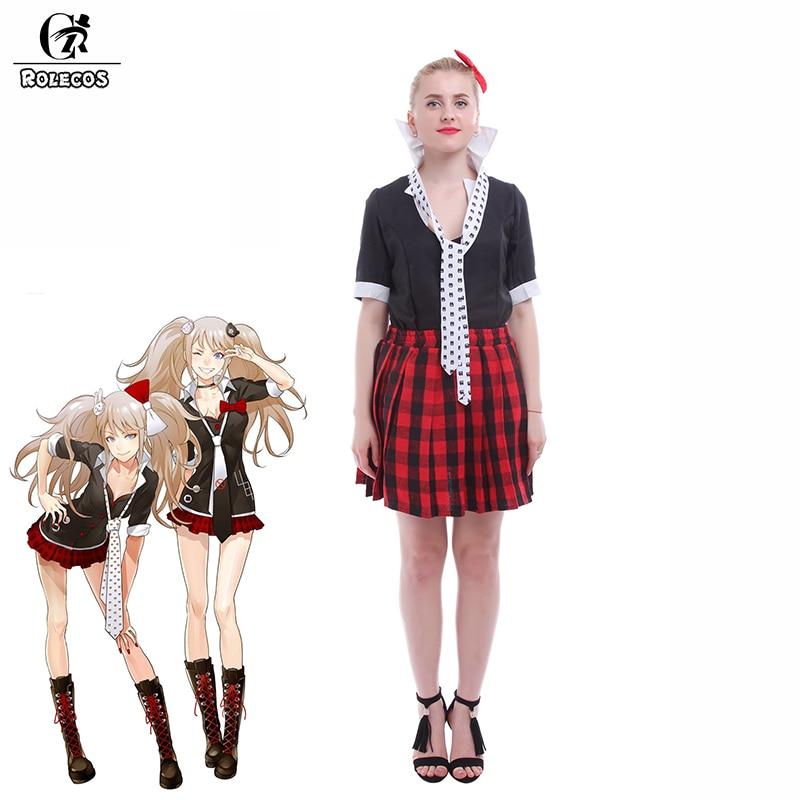 ROLECOS Anime Danganronpa Enoshima Junko Women Cosplay Costumes School Girl  Uniform Shirt Skirt Set Women Halloween