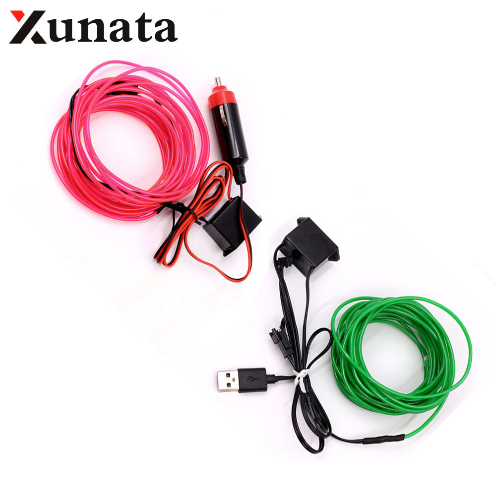 5V USB EL wire flexible Glow EL Wire tape tube Strip LED Neon Lights Shoes Clothing Car waterproof led strip 1m/3m/5M 1PC/lot 1m 3m 5m 3v waterproof led strip glow el wire rope tape cable strip led neon lights shoes clothing car flexible neon light