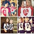Dia dos namorados clothing família roupas combinando amor primavera outono de manga longa de algodão crianças camisetas mamãe encabeça novo!!