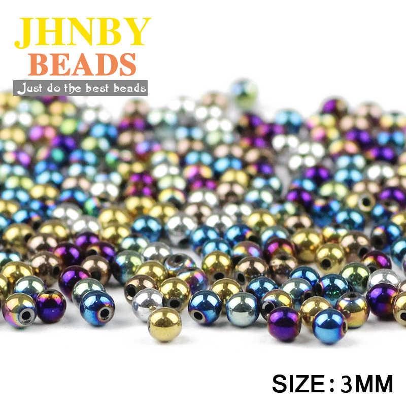 JHNBY Rotondo Nero Ematite 3mm 200pcs Naturale minerale di Pietra di colore di Placcatura branelli Allentati della sfera del braccialetto Monili Che Fanno FAI DA TE accessori