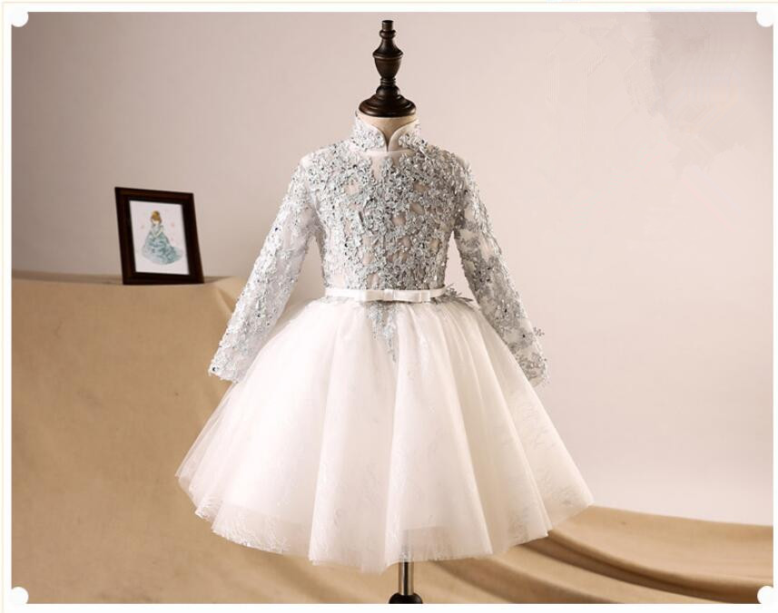 Elegant Appliques Lace Kids Princess Dress For Birthday