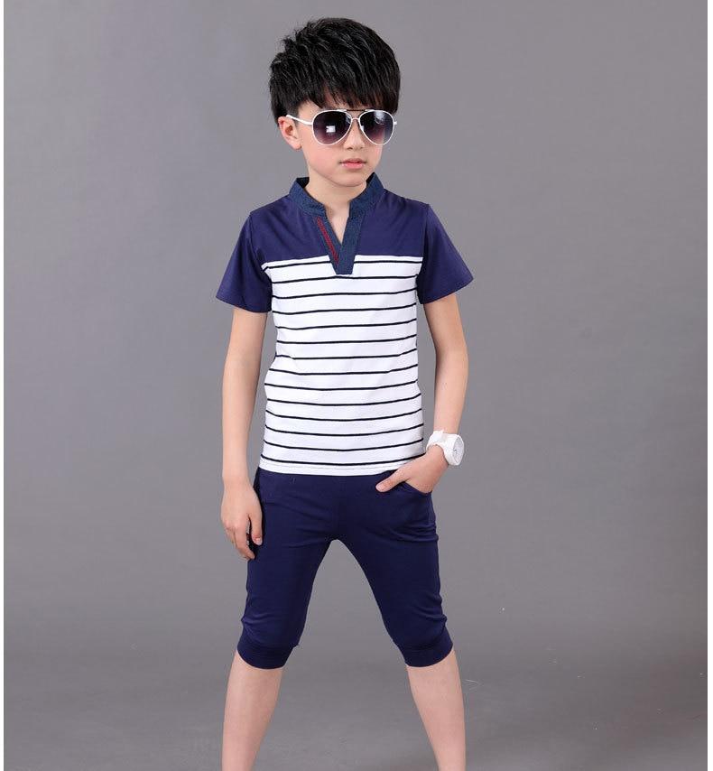 Children's clothing casual wear summer children's cotton t shirt shorts boys  clothing fashion stripes clothing age 3 8 years old boys clothing children  clothingage clothing - AliExpress