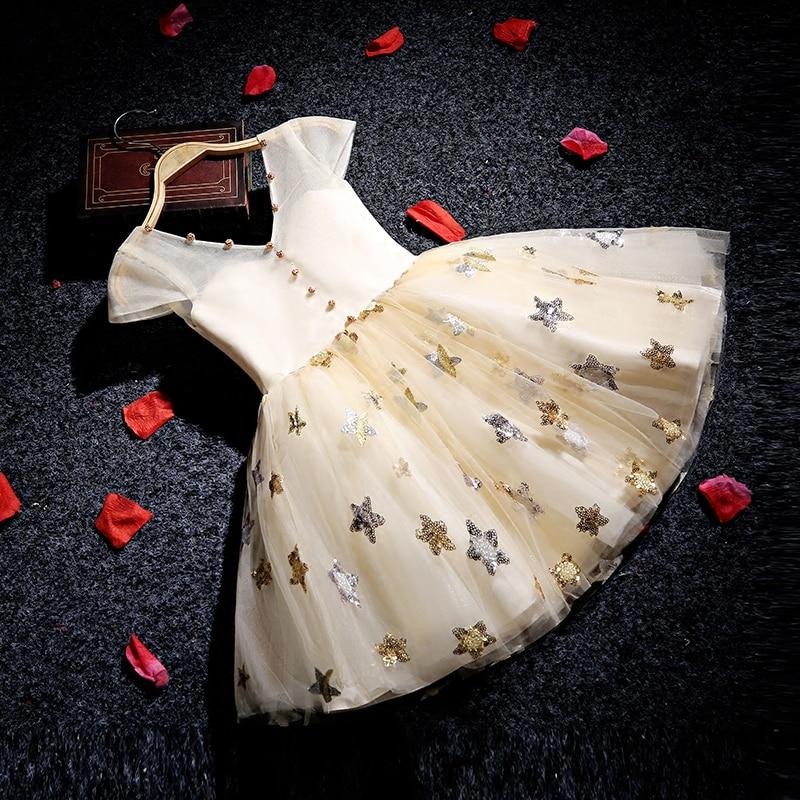 Sequined Stars Kids Gowns V neck Flower Girl Dresses Ball Gown Girls Pageant Dress for Birthday