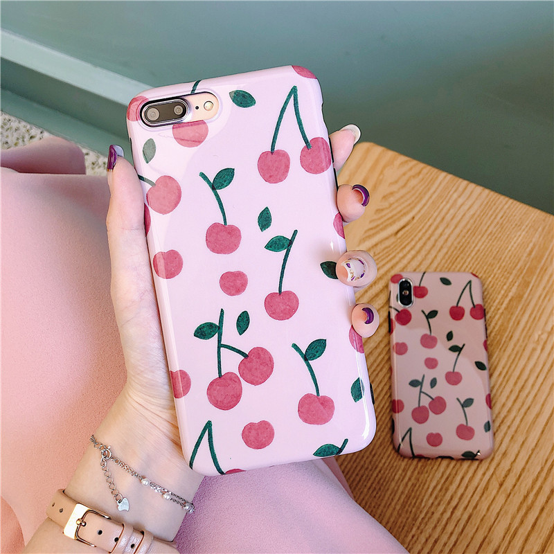 Cartton Cherry Painting Phone Case For iphone XS Max XR X Case For iphone 6 6s 7 8 plus Cover Fashion Glossy Soft Silicone Cases in Fitted Cases from Cellphones Telecommunications