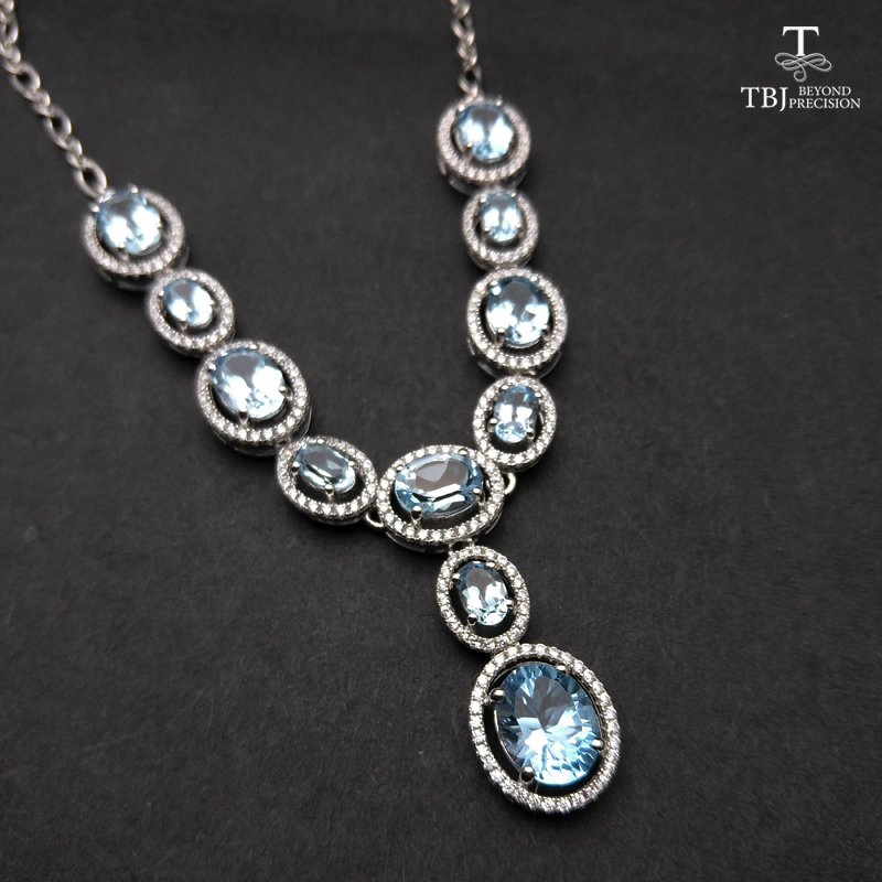 TBJ Elegant Natural blue topaz gemstone necklace in 925 sterling silver fine jewelry for party as