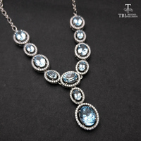 TBJ, Elegant Natural blue topaz gemstone necklace in 925 sterling silver fine jewelry for party as best gift for women with box